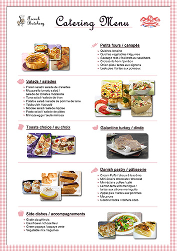 Catering Menu – The French Butchery