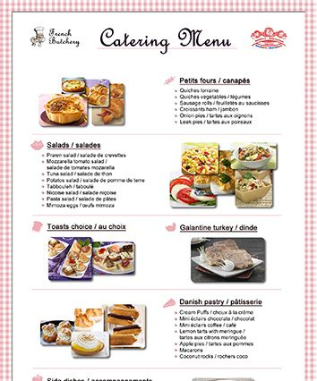 Catering Menu - The French Butchery