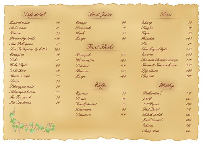 Menu drink list – Villa Daudet