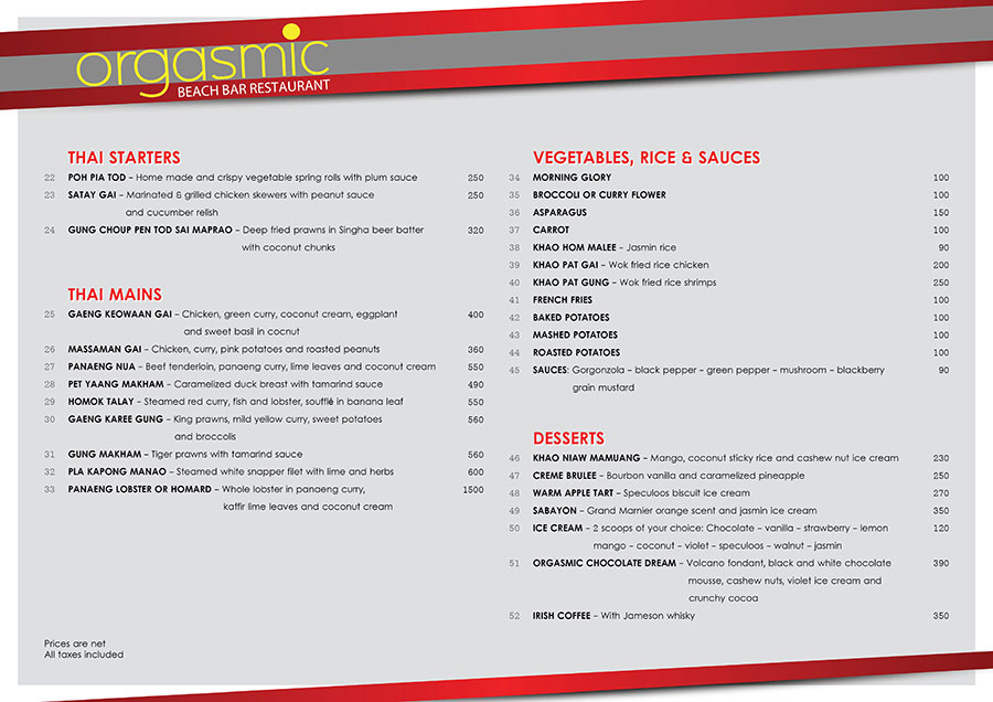 Menu V.1 – Orgasmic Restaurant