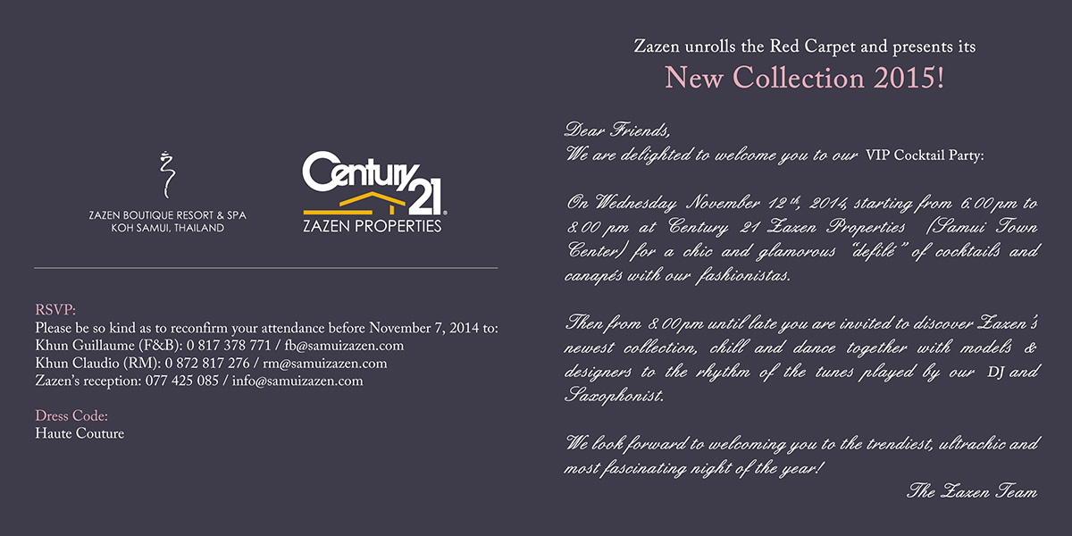 Invitation – Zazen Resort / Century 21 Party