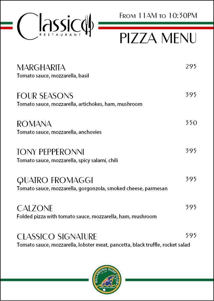 Pizza menu Classico – Billabong