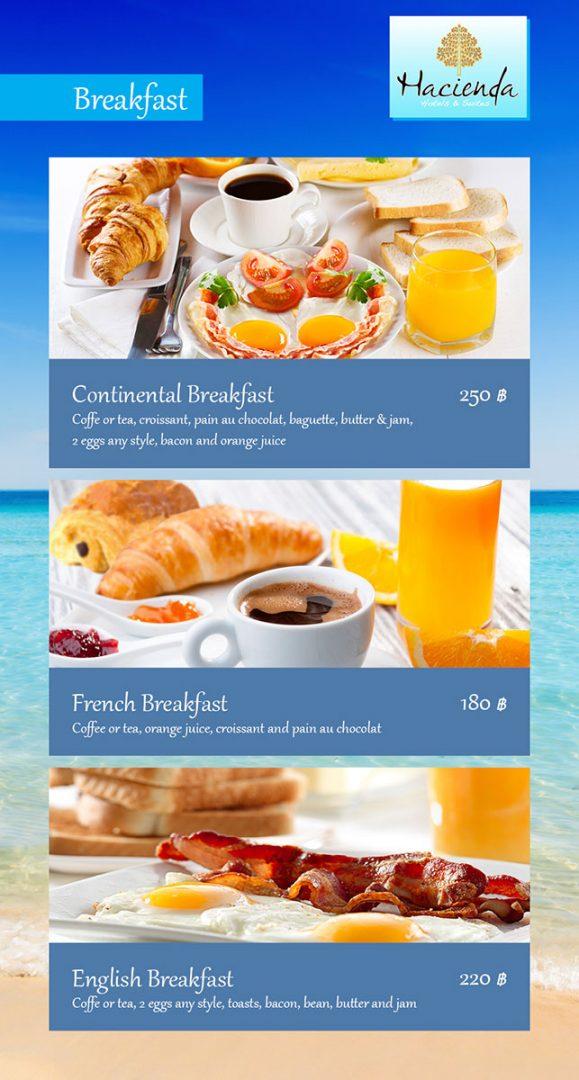 Breakfast menu – Hacienda Hotel