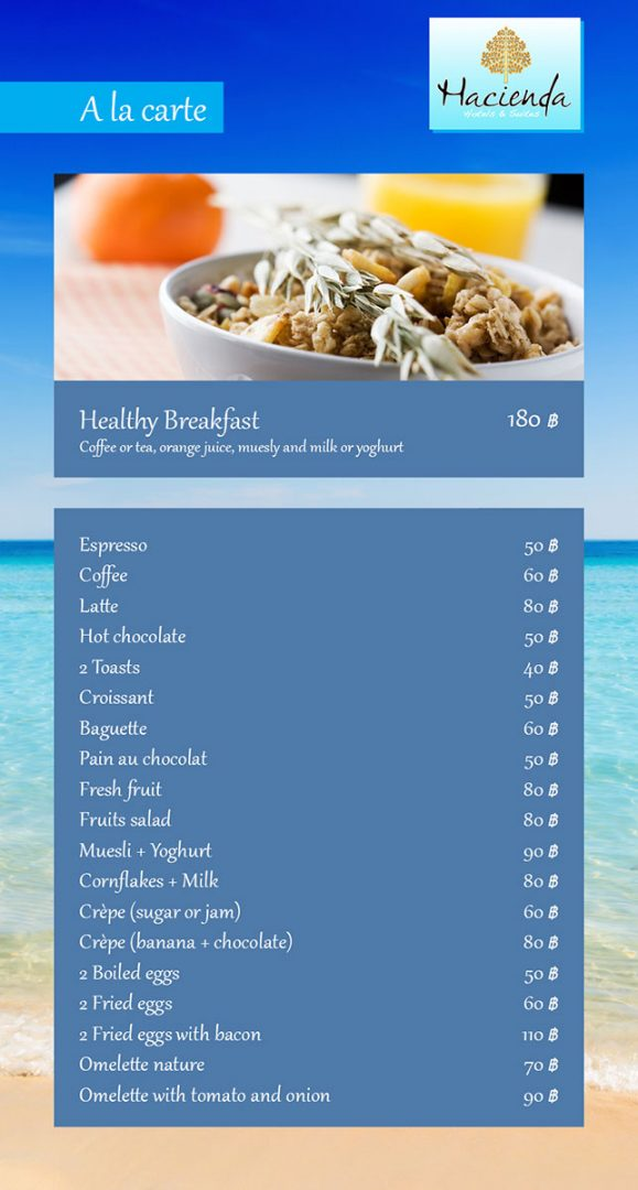 Breakfast menu – Hacienda Hotel