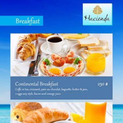 Breakfast menu - Hacienda