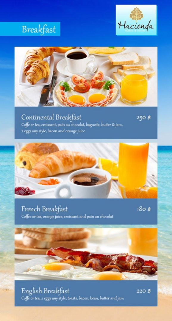 Breakfast menu - Hacienda