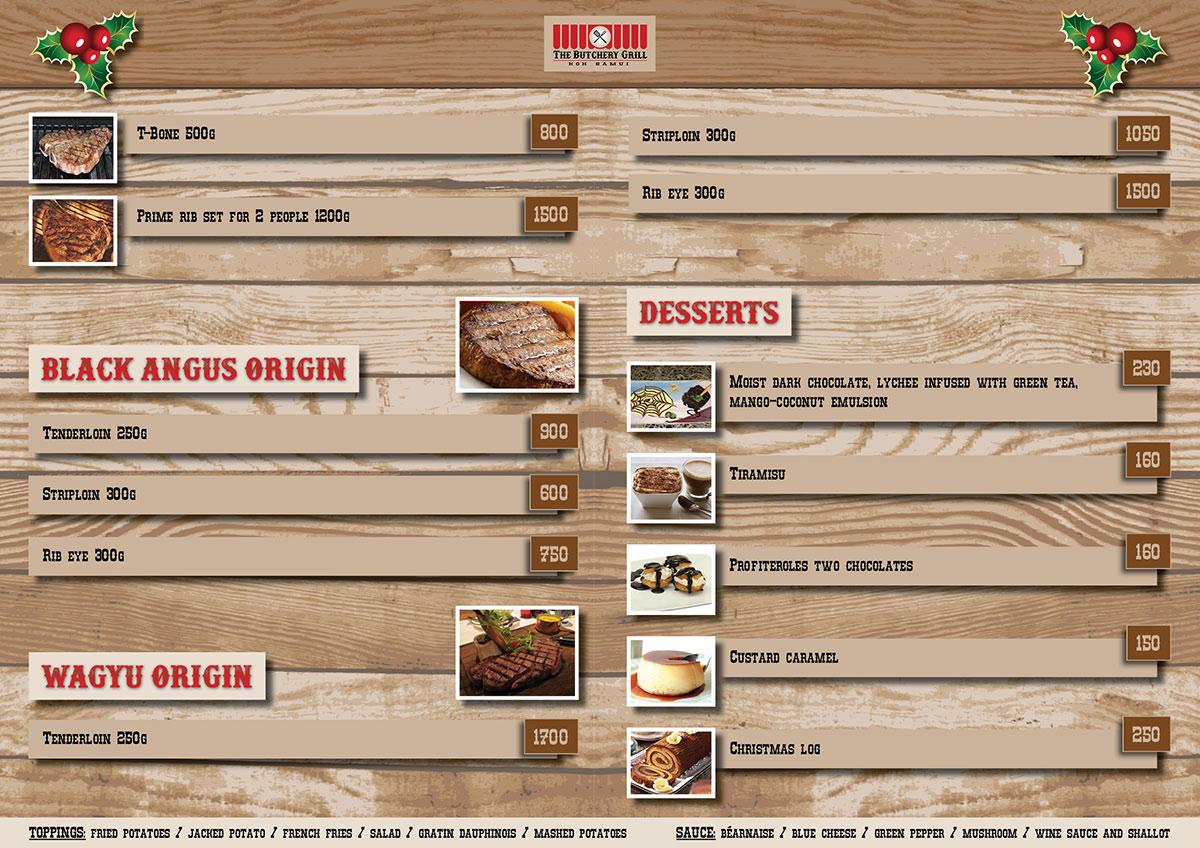 Christmas menu – The Butchery Grill