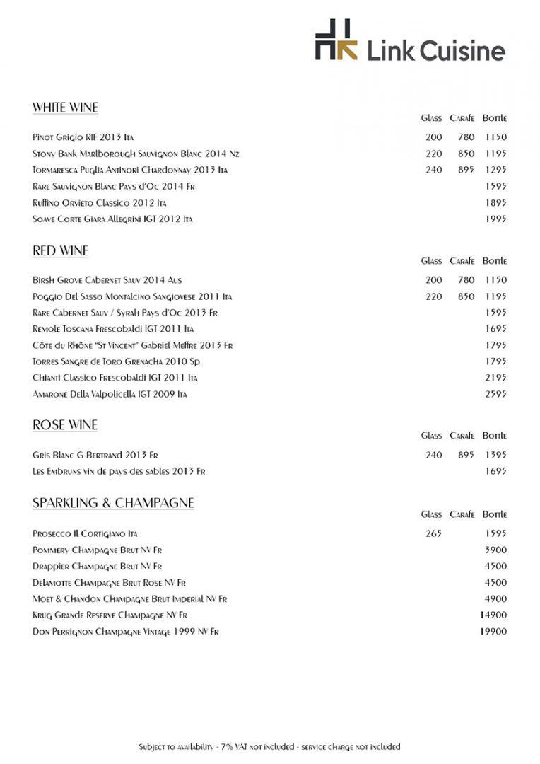 Drink menu – Link Cuisine