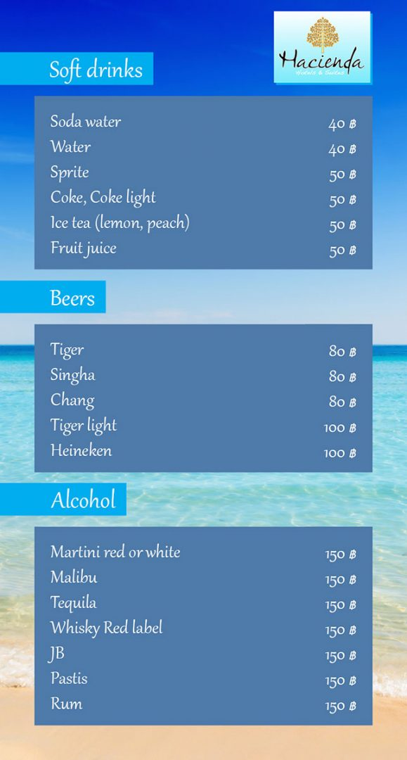 Drinks menu – Hacienda Hotel