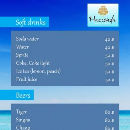 Drinks menu - Hacienda