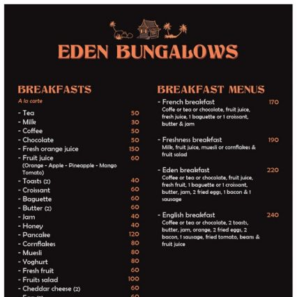 Menu - Eden Bungalows