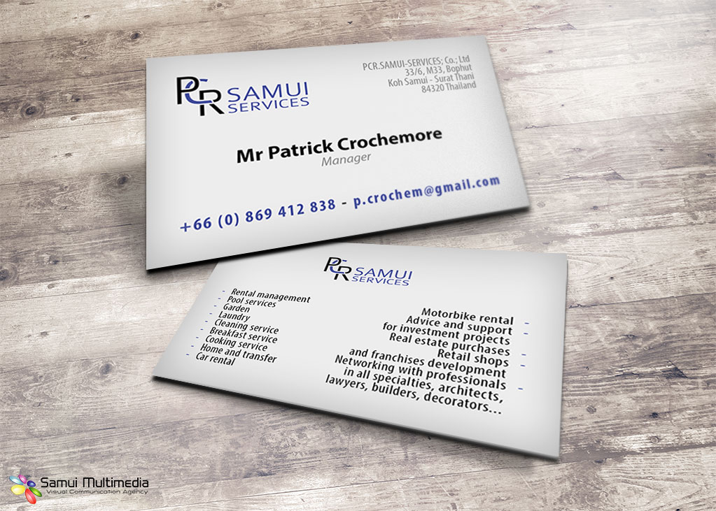 Projet: Business card - PCR Samui Services | Samui Multimedia