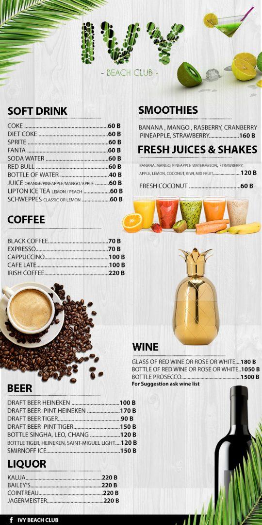 Drink menu – IVY Beach Club