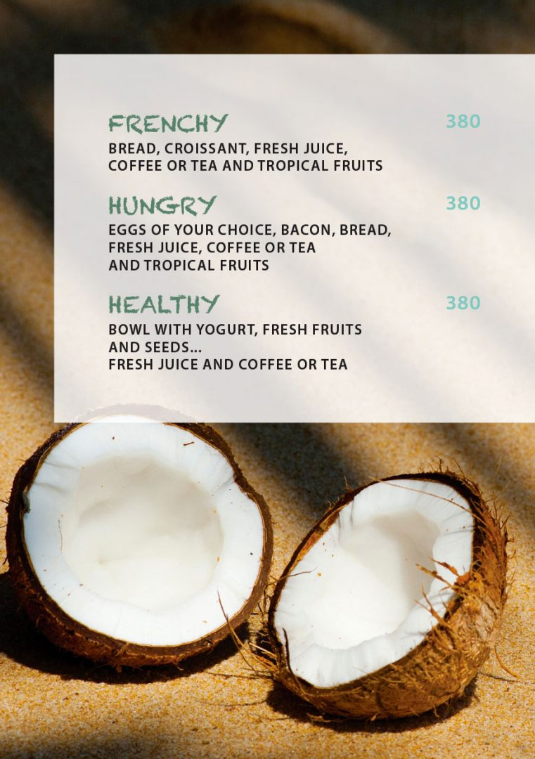 Breakfast menu – Koh-Co Beach