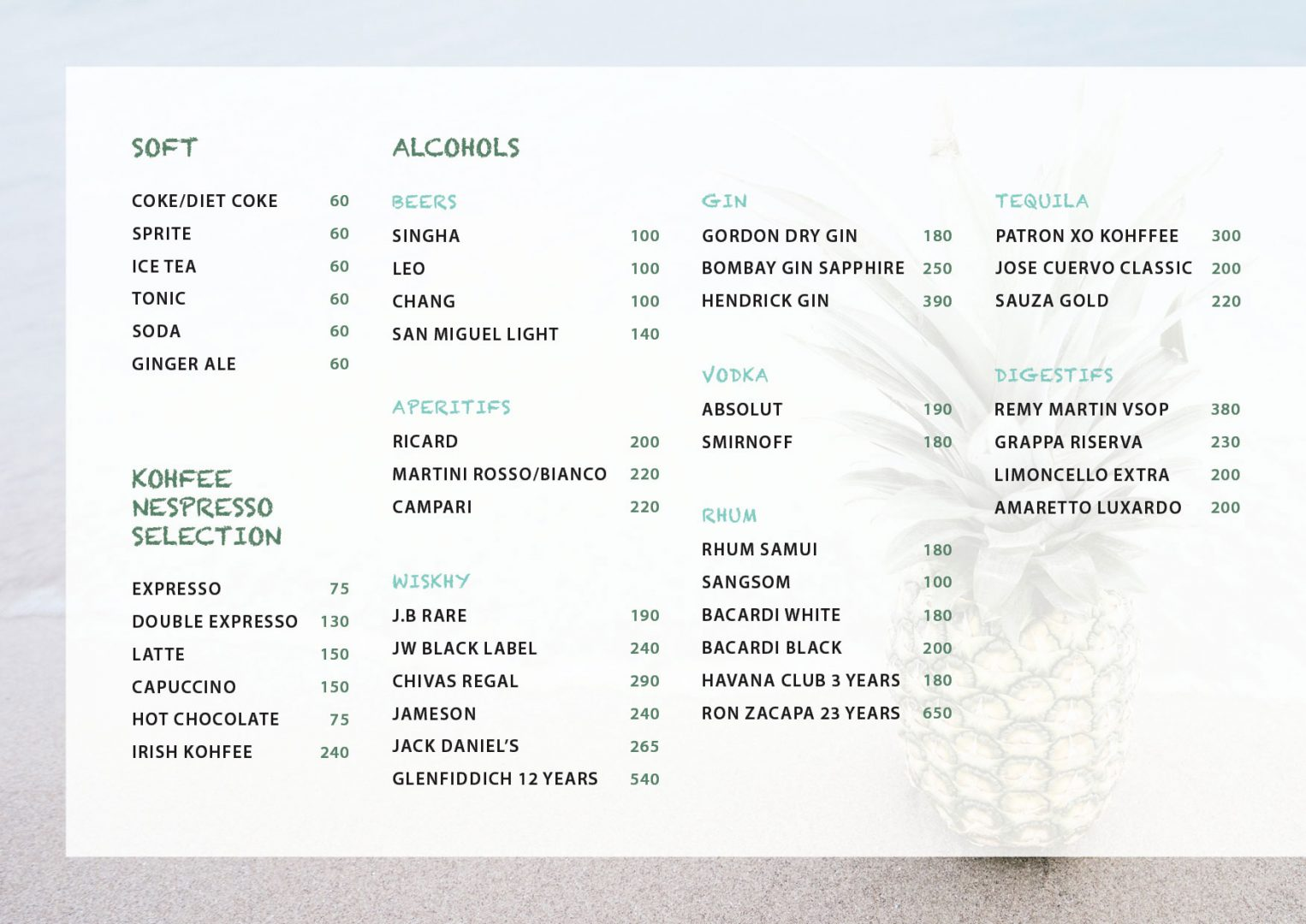 Drink menu – Koh-Co BEach