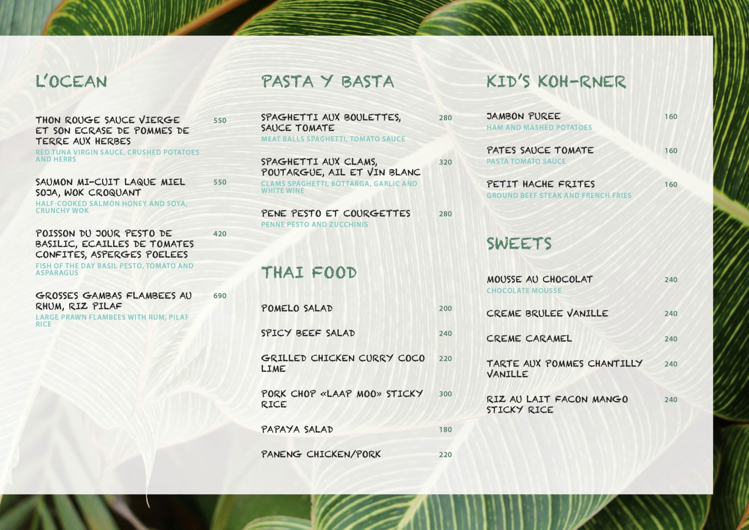 Food menu – Koh-Co Beach