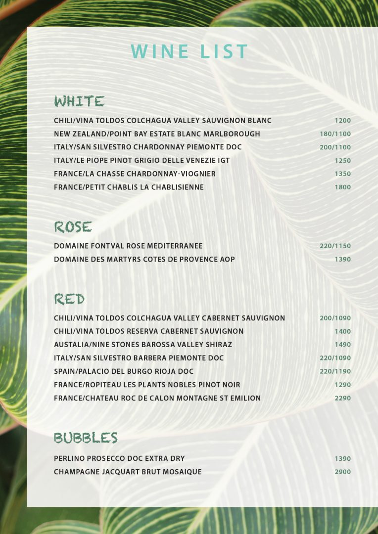 Wines menu – Koh-Co Beach