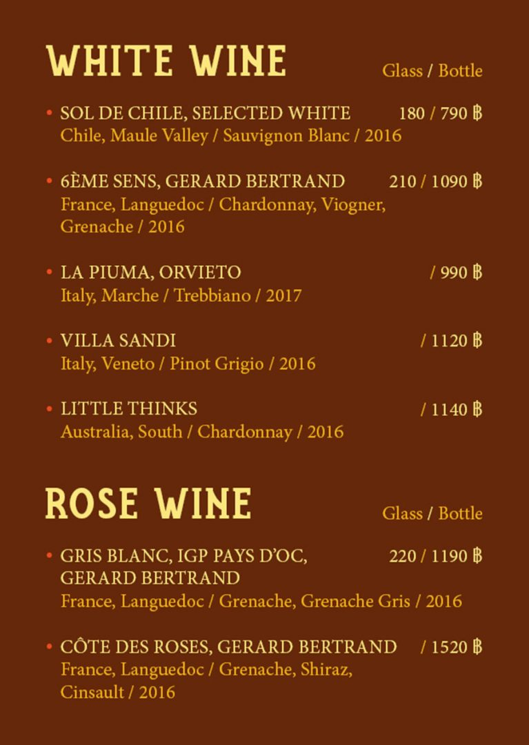 Wine Menu – Chicken Farm