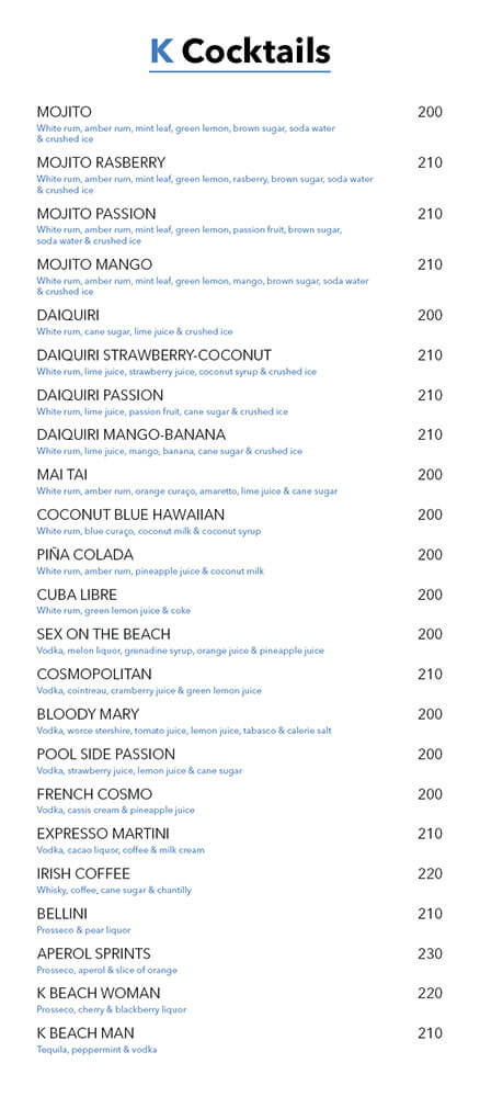 Drink menu – KBeach