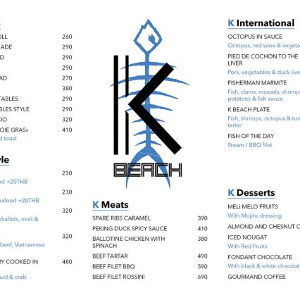 Food menu - KBeach