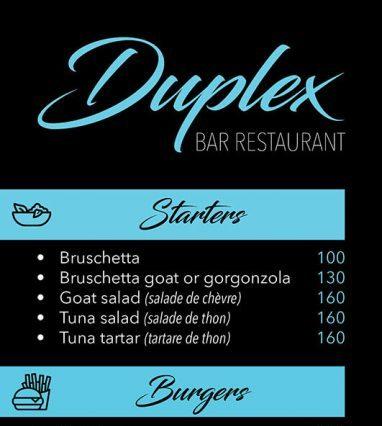 Menu - Duplex Restaurant