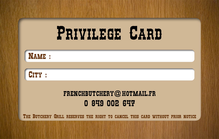 Promotion card – The Butchery Grill