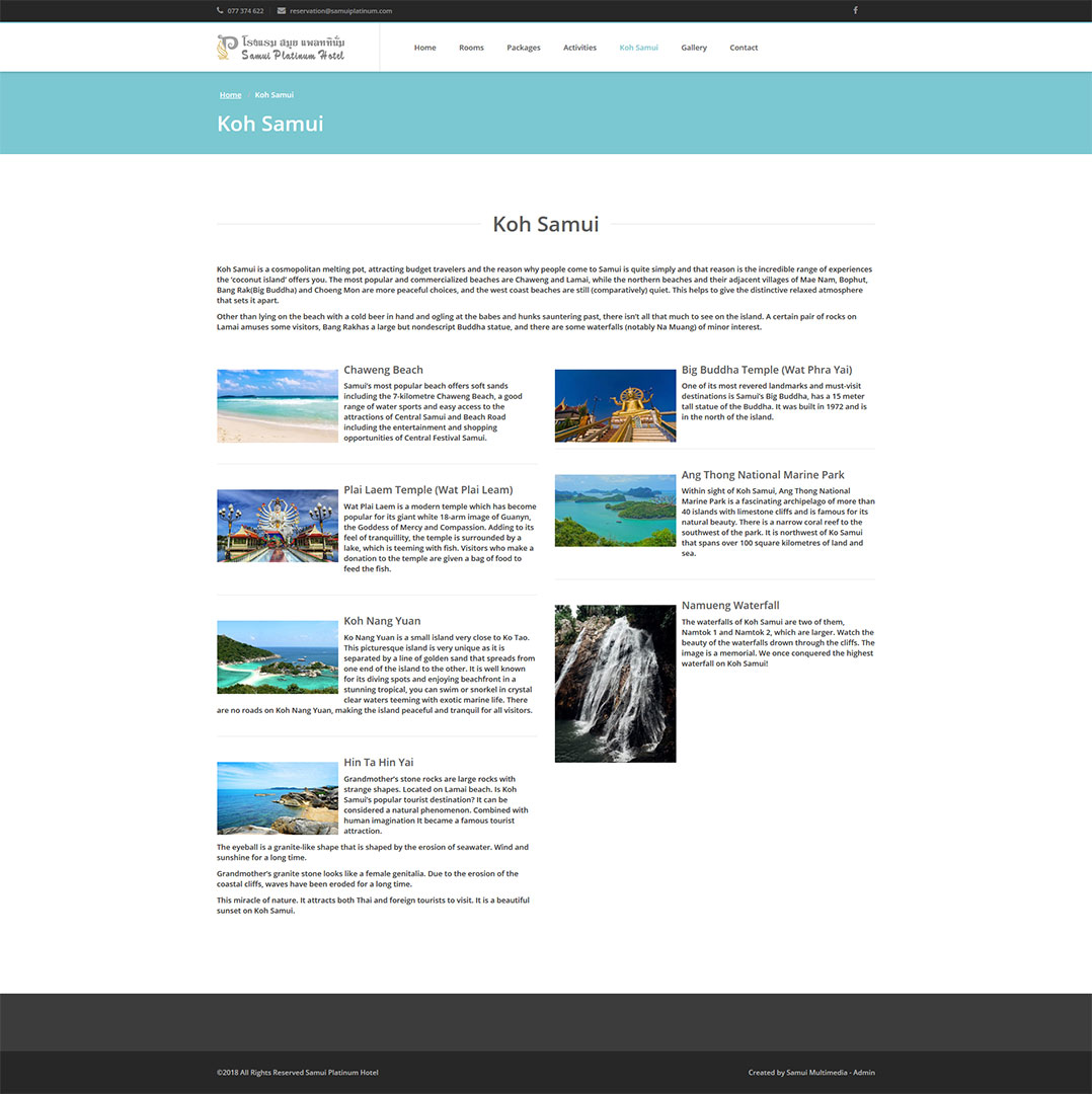 Website – Samui Platinum Hotel